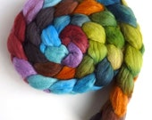 Polwarth/Silk Roving - Handpainted Spinning or Felting Fiber, Time Stood Still