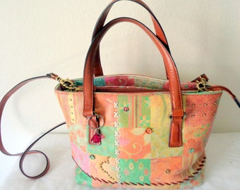 Genuine  Fossil SMALL coloroful  leather tote , bag ,satchel ,purse ,cross body bag vintage