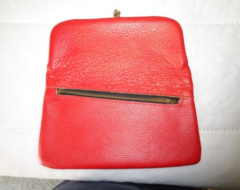 Terrida Made in Italy Vintage Clutch, cosmetic bag , top frame pouch , vintage 80s pouch,  rich lipstick red  , thick full grain leather