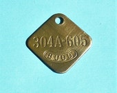 Vintage Antique Brass Number Tag Brass Numbered Tag Budd Tag Steampunk Jewelry DIY Jewelry