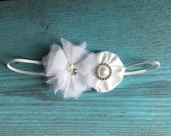 Baby Baptism pure white or antique ivory shabby chic flower on soft stretch headband the LAYLA BALLERINA newborn to 6 years