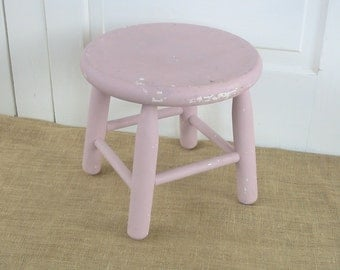 Vintage Wood Stool Pink Round Milking Rustic Primitive Shabby Cottage Chic