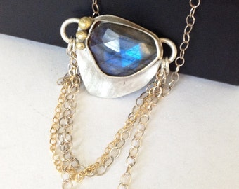 Labradorite Necklace with 18K Gold - Silver and Gold Jewelry - Blue Labradorite Jewelry