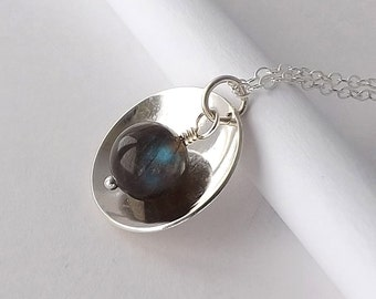 Labradorite Necklace, Silver Dome Pendant, Hammered Layer Pendant Blue Flash Labradorite Jewelry, Womens Necklace