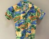 Alligators Hawaiian Shirt, Vintage Kids Shirt, Alligator Print, Palm Trees, Green Alligator Shirt, Short Sleeve Button Down Shirt, S Boys 10