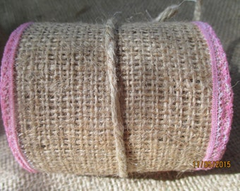 Burlap  Burlap Ribbon 3 Inch Wide Burlap Ribbon  Pink  Lace  Sold by the Yard
