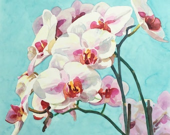 Original watercolor painting orchids wall art by Paige Smith-Wyatt
