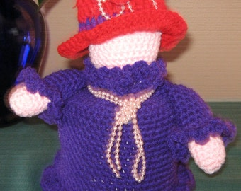 Crochet Red Hat Lady tissue cover
