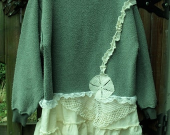 Upcycled Fleece Tunic/Inside out/Vintage Crochet/Muslin ruffles/Lace/Fab Funwear