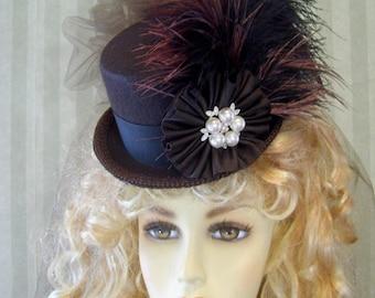 Steampunk Mini Top Hat, Halloween Hat, BroWn and BLack, CospLay Hat, Alice in WonDerland Hat