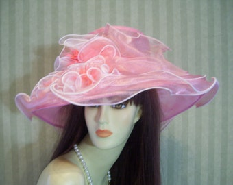 "Kentucky Derby Hat, ""Pink Crystal"" Preakness, Victorian, Wedding, Easter, Organza pink Hat"