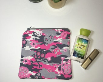Medium Zipper Pouch, Skull and Camo Zipper Pouch, Pink and Gray Zipper Pouch, Travel Pouch, Makeup Bag, Cosmetic Bag, Project Pouch, Teen