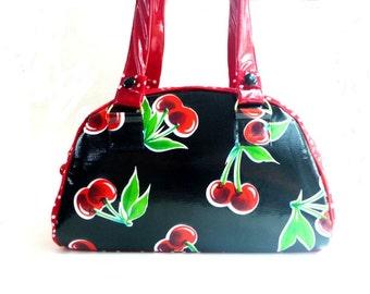 Rockabilly bag, bowling bag, retro cherries, vinyl handbag, 50's bag, red satchel, mid century style bag, shoulder bag, top handle bag