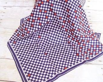 Vintage Vera Scarf Red White Blue 1970 Mod Square Geometric Style