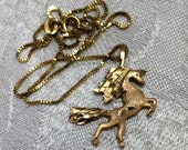 Vintage 10K Gold 13 Inch Necklace and Unicorn Pendant The Unicorn is 1 Inch Tall. It Would Be a Perfect Gift For a Special Young Girl (J1)
