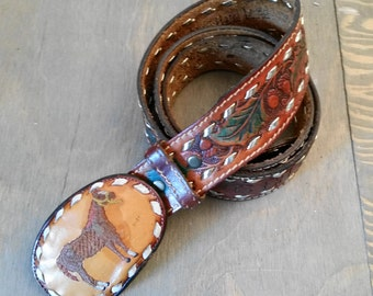 Vintage Tooled Brown Leather Named Western Belt with Leather Tony Lama Belt Buckle 1960's