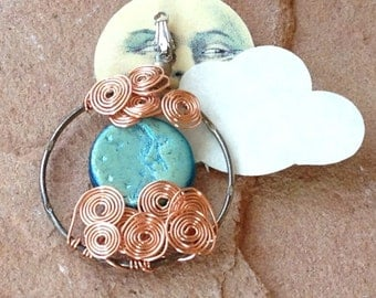 Moon in the Clouds Pendant with Teal Moon, By the Light of the Silvery Moon, Celestial Jewelry, Priestess Gift, Full Moon Pendant