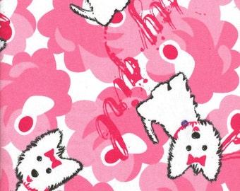 Cotton Snuggle Flannel Fabric Cute Puppy Dog Print Soft Warm Cozy One Yard Cut DIY Girls PJ's Robe So Pink So Cute Little Girl Kids Toddler