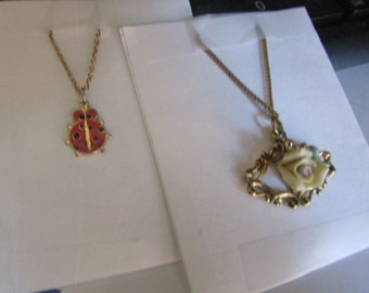 Lady bug and rose pendents