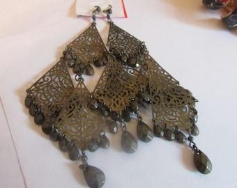 bronze & black chandelier dangle earrings