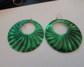 sparkly green disc earrings