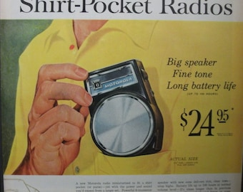 "Rad...179   ""Motorola Shirt - Pocket Radio""  Ad - May 1960"