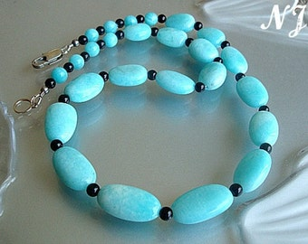 Amazonite Black Onyx Necklace. Blue Peruvian Amazonite jewelry. Statement Blue necklace.