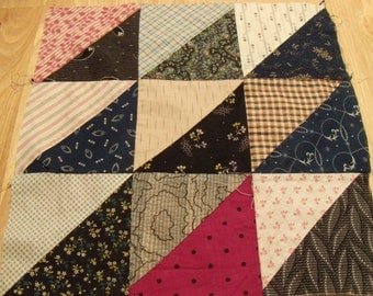 "Set of 20 Vintage Quilt Blocks. 14"". Early 1900's. Historical Collection Of Dress Prints and Shirtings"