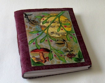 Peaceful Moments 04 - waxed burgundy red wine canvas journal