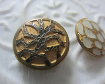 Vintage Buttons -2 medium etched brass metal, enamel Victorian era buttons,  (aug 31b)