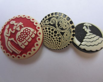 Vintage Buttons - Cottage chic mix of red and black  buffed celluloid, medium to large 2 silhouette, 3 buttons  (oct 102)