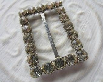 Vintage belt buckle/ slide, 1 large stunning rhinestone embellished rectangular belt buckle, silver  metal, Bridal (mar 26)