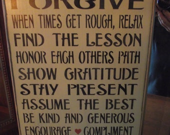 Rules for A Happy Marriage  -  primitive wood sign