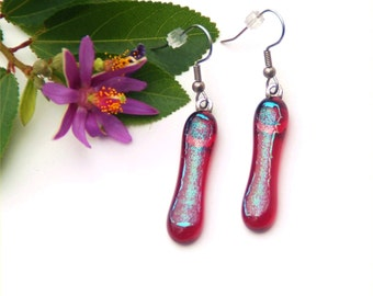 55 Fused glass dichroic earrings, long, transparent red, dichroic green