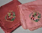 Pair of Vintage Pink Frae Bonnie Scotland Handkerchief Hankies Embroidered Pocket Squares