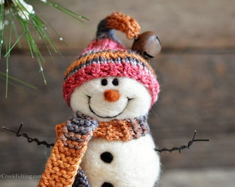 Snowman - handmade - needle felted- one of a kind -  731