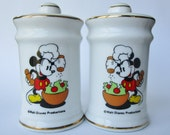 Vintage Mickey Mouse Salt and Pepper Shakers - Ceramic with Gold Trim - Excellent Condition - Vintage Disney Collectible from the 1970s