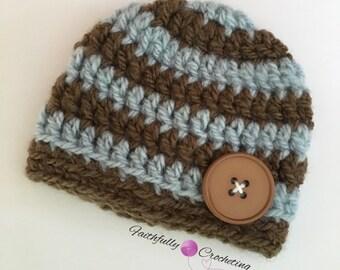 Newborn boy beanie.. Button hat.. Photo prop.. Ready to ship