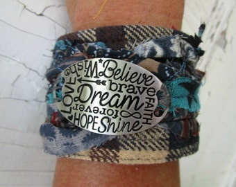 Dream Believe Faith Plaid Flannel Cuff Bracelet// Upcycled// emmevielle