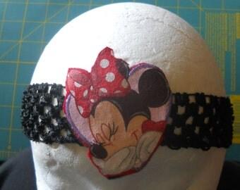 One headband, MINNIE MOUSE on black croqueted headband, SALE.