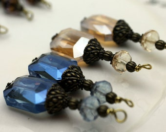Golden Topaz and Montana Blue Rectangle Faceted Crystal Duo Pair Bead Dangle Charm Drop Set