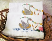 Vintage Embroidered Pillowcases - Embroidered Swans - 2 Pillowcases - Crocheted Trim