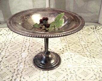 Vintage Silver Plate Pedestal Bowl, Cloche Base, Farmhouse Rustic