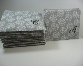 Makeup Bags, Set of 7 Small Personalized Makeup Bags, Clutch, Monogrammed Zipper Pouch, Customize Your Pouch