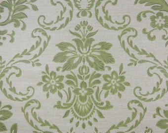 1970s Vintage Wallpaper Green and White Floral Damask by the Yard
