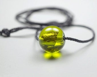Long Necklace With Bead // Green // Long Necklace // Murano Glass Bead