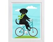 164D Dog Print - Black Labrador on Bicycle Wall Art - Labrador Retriever Art - Labrador Print - Bicycle Print - Lab Dog Riding Bicycle Art