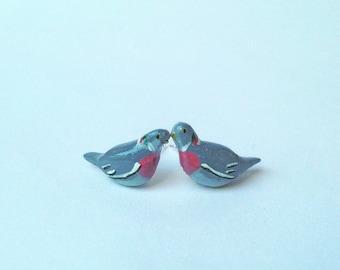 Tiny pigeon earrings