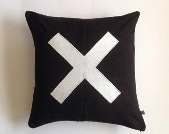 Black X Pillows, Black Felt Pillows, Sign Pillows, X accent pillows, Personalized sign pillows, 16x16, 18x18, 20x20
