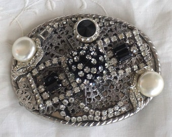 OOAK Indie Vintage French Jet Pearl Rhinestone Filigree Collage Belt Buckle Black Cream and White Stones